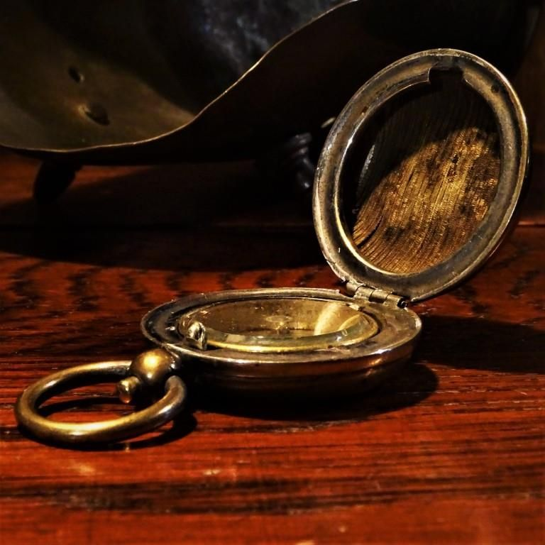 Antique Brass Cased Pocket Compass