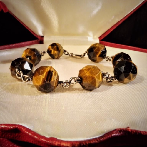 Art Deco Tiger's Eye and Silver Bracelet