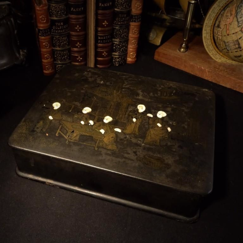 Curious Antique Japanese Black Lacquer Box
