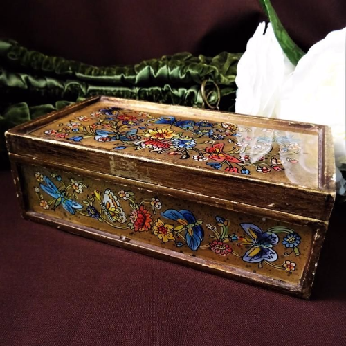 Vintage Glass Panelled Wooden Box with Flowers and Butterflies